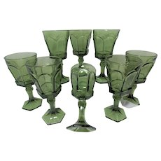 8 Vintage Fostoria Virginia Green Water Glasses