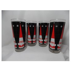 Vintage Howard Holt style Santa Claus and Snowflake Tumblers