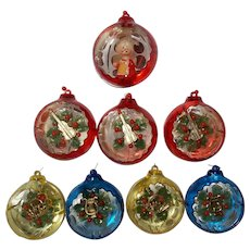 Vintage Set of 8 Jewelbrite Christmas Ornaments
