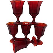 Ruby Red Amberina Water Glasses