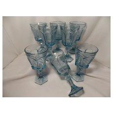 Fostoria Virginia sapphire blue water  or wine Glasses