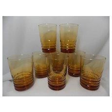 Vintage Libbey Honey Amber Optic Swirl Tumblers
