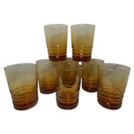 Vintage Libbey Honey Amber Optic Swirl Tumblers