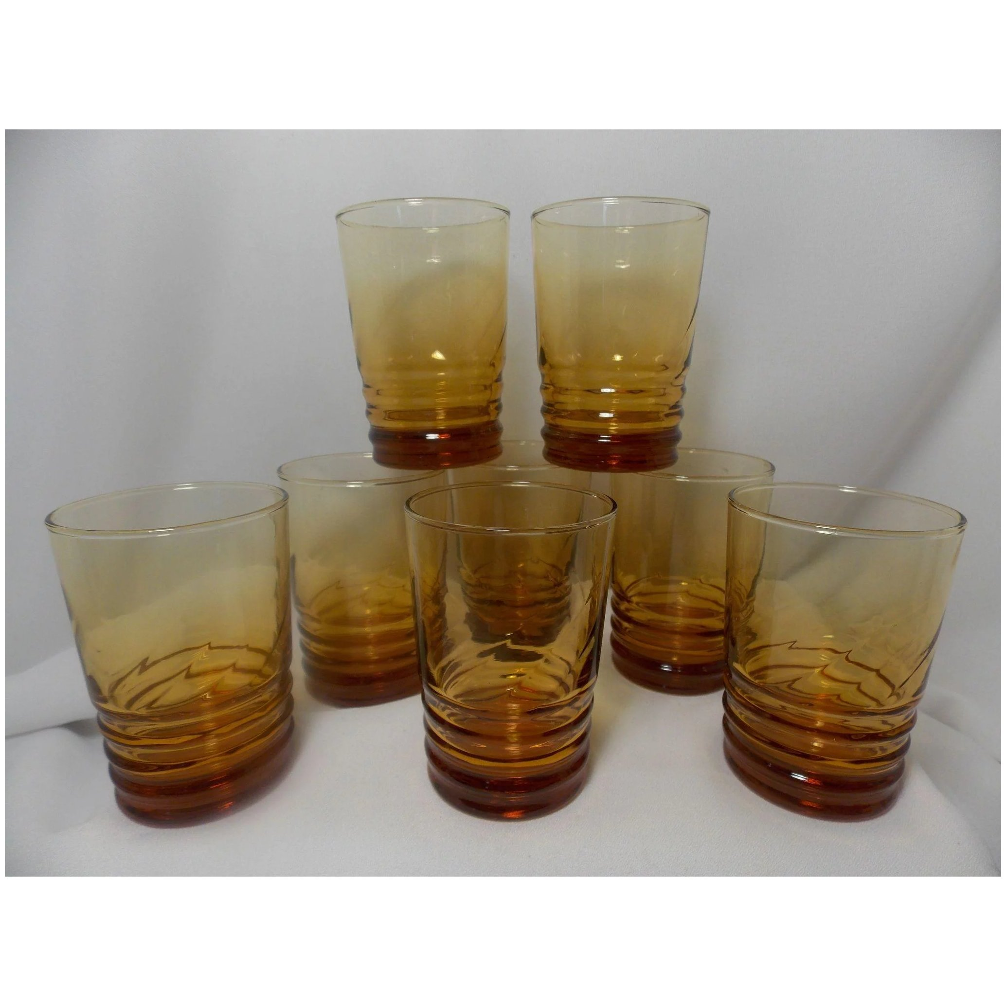Vintage Libbey Honey Amber Optic Swirl Tumblers Ma Price S Attic Ruby Lane