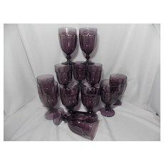 Vintage Libbey Amethyst Gibralter Duratuff Water Goblets