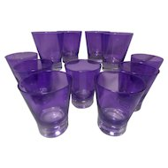 Vintage Purple Old Fashion Bar Glasses