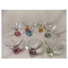 Vintage Short Stemless Heavy Bubble Bottom Martini Glasses