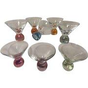 Vintage Short Stemless Heavy Bubble Bottom Martini Glasses