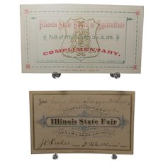 1875 and 1876 Illinois State Fair Complementary Passes
