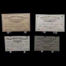 Four 1875 Railroad Exchange Tickets various Illinois, Iowa, Missouri, Kentucky