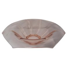 "Heisey Pink Octagon 11"" Low Rolled Edge Console Bowl"