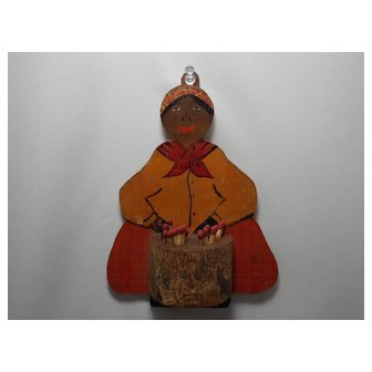 Primitive Folk Art Black Mammy Match Holder
