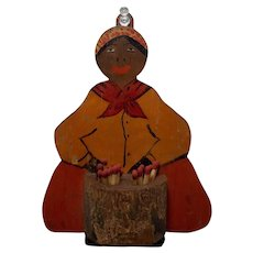 Primitive Folk Art Black Mammy Match Holder