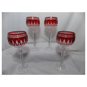 Vintage 1996 Waterford Clarendon Crystal Cut to Clear Ruby Red Wine Hocks (4)