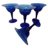 Vintage Cobalt Blue Blown Stemware