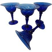 Vintage Cobalt Blue Blown Stemware