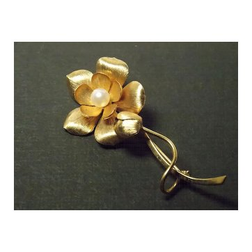 Vintage Wells 14k g.f. Rose and Bud Pin