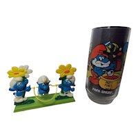 1982 Galoob Smurfs Jumping Rope &1983 Papa Smurf Glass