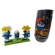 1982 Galoob Smurfs Jumping Rope &1983 Papa Smurf Glass