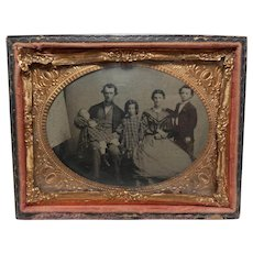 Vintage Post Mortem Cased Tintype of Dead Daughter with Family