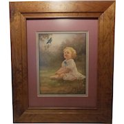 1930's The Bluebird's Serenade Print by Adelaide Hiebel