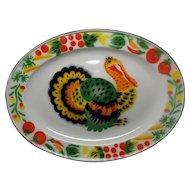 Vintage 1950's Enamelware Turkey Platter