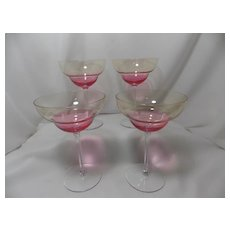 Vintage 1950's Margarita Glasses with Pink Bowl