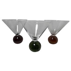 Vintage Controlled Bubble Martini Glasses