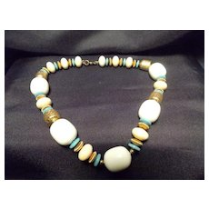 Monet Barrel and Disc Beaded Necklace