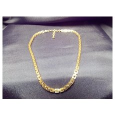 Monet Gold Tone Square Link Chain Necklace