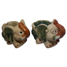 Vintage Pair of Elephant Ashtrays