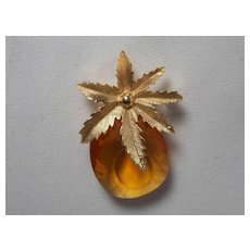 """Vintage Sarah Coventry Amber """"Pineapple"""" Pin"""