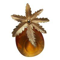 "Vintage Sarah Coventry Amber ""Pineapple"" Pin"