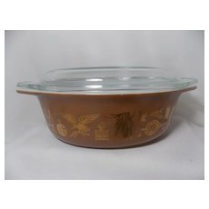 Vintage Pyrex 1.5 Quart Oval Early American Casserole Dish with Lid