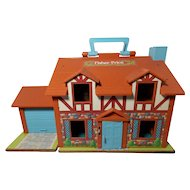 Vintage 1980 Fisher Price Little People Brown Tudor Dollhouse
