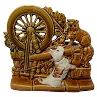 Vintage 1950's McCoy Spinning Wheel Planter with Scottie Dog and Cat