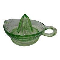 Vintage Green Vaseline Glass Juicer/Reamer