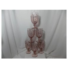 Six Libbey Gibralter Duratuff Pink Water Goblets