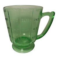 Vintage Uranium Glass Quart Size Measuring Cup