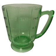 Vintage Uranium Glass Quart Size Measuring Cup