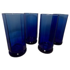 Anchor Hocking Cobalt Blue Essex 10 Panel Tea Glasses
