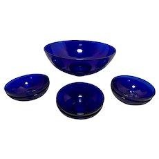 Vintage Cobalt Blue Salad Bowl with 6 Single Serve Bowls