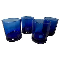 Anchor Hocking Cobalt Blue Essex 10 Panel Double Old Fashioned Glasses