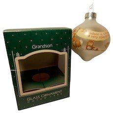 "1986 Hallmark Keepsake Glass Teardrop Ornament ""Grandson"""