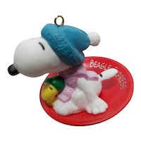Vintage Hallmark Handcrafted Keepsake Ornament of Snoopy and Woodstock