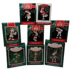 "1986-1993 Vintage Hallmark Handcrafted Keepsake Ornament ""Reindeer Champs"" Series"