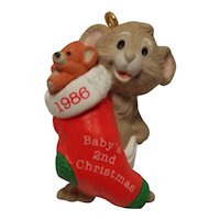 "1986 Hallmark Handcrafted Keepsake Ornament ""Baby's Second Christmas"""
