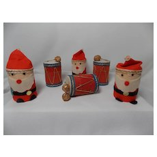 Vintage Santa and Drum Cardboard and Felt Christmas Ornament/Trinket Box