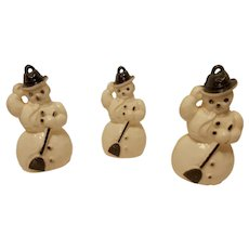 Vintage Celluloid Snowmen Christmas Ornaments