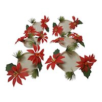 Vintage Set of 6 Plastic Poinsettia Coasters